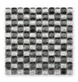 BÄRWOLF Glasmosaik-Fliesen GL-11003 Ice Cube silver black mix