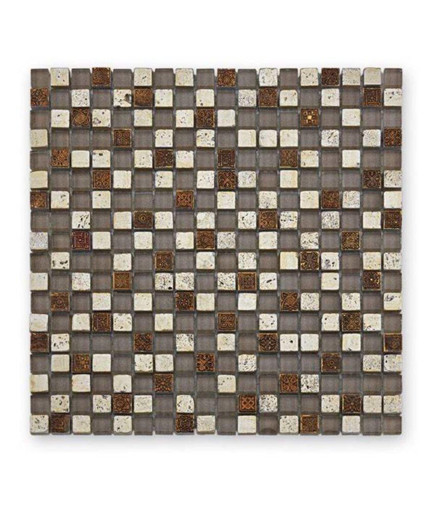 Materialmix-Mosaikfliesen GL-2490 Tuscany antik silver