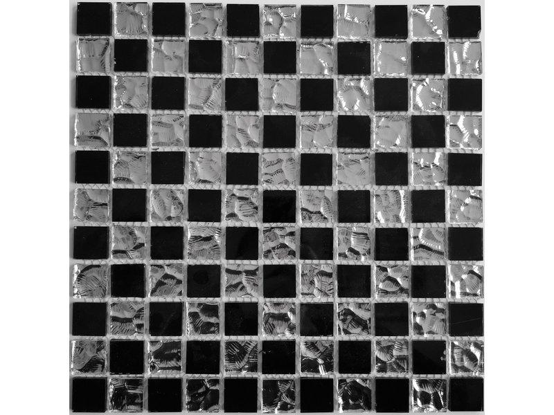 GLASMOSAIK FLIESEN - Stella - silber / schwarz