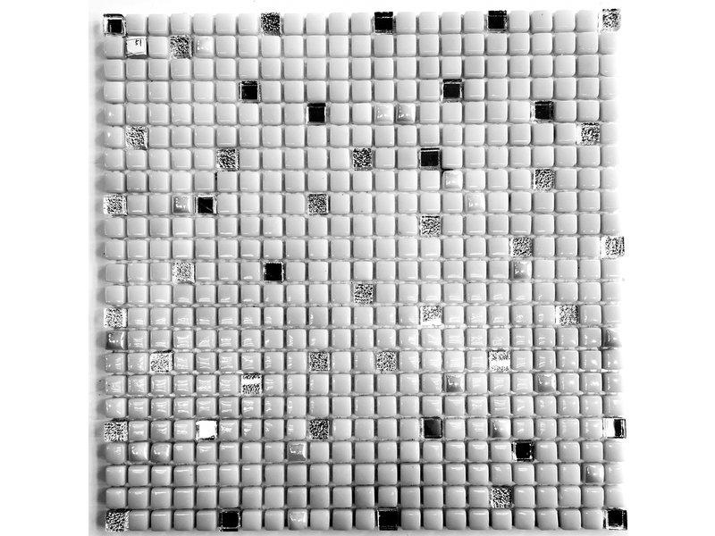 Glasmosaikfliesen Silber / Weiß / Glitzer / Perlmutt