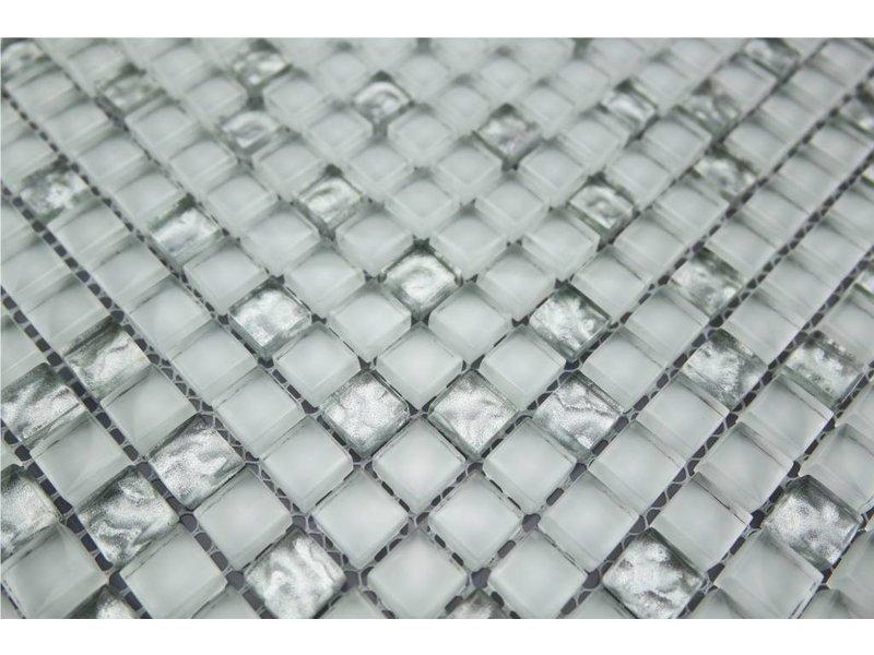 Glasmosaik-Fliesen silber, weiß GM 111
