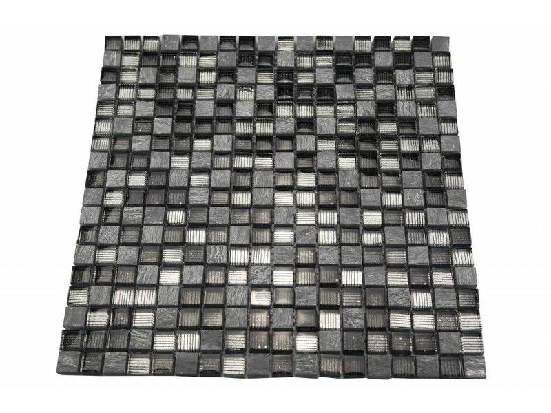 Bunte Mosaikfliesen grau line mix MOT41