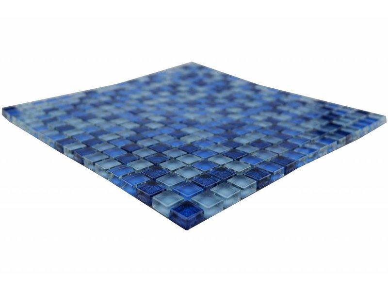 Glasmosaik Fliesen - blau mix - MOT26