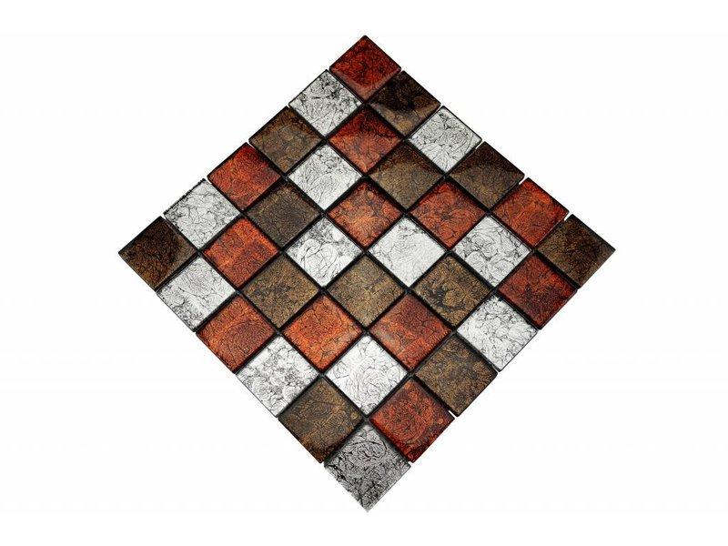 Glasmosaik-Fliesen silber, braun, rot GM4800