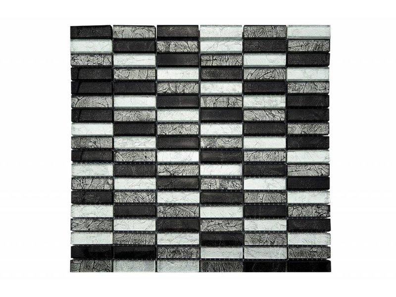Glasmosaik-Fliesen silber, grau, schwarz GM1501