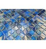 GLASMOSAIK FLIESEN - Sicilia - dunkel blau / Kupfer mix