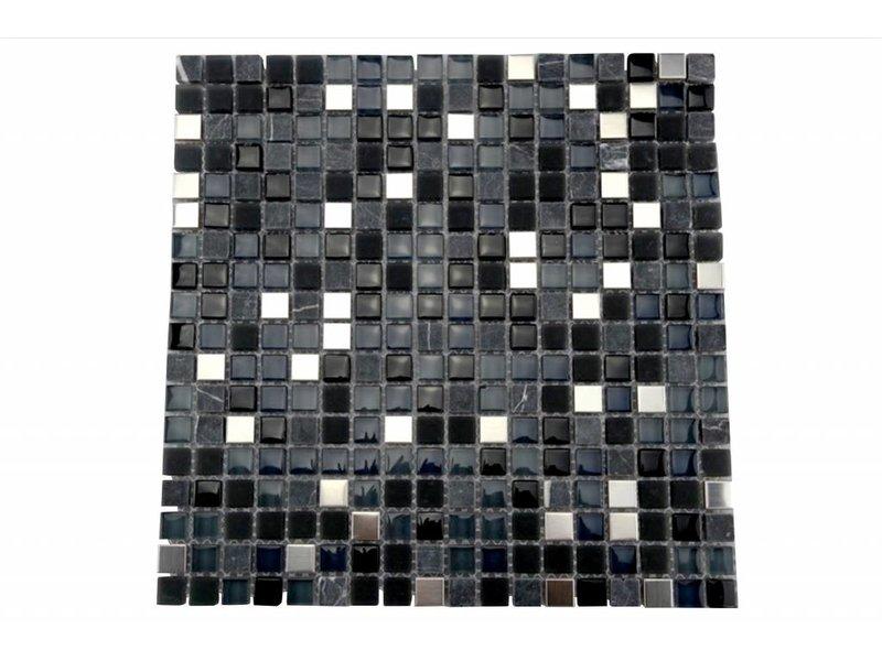 Bunte Mosaikfliesen silber, schwarz mix, grau mix G110
