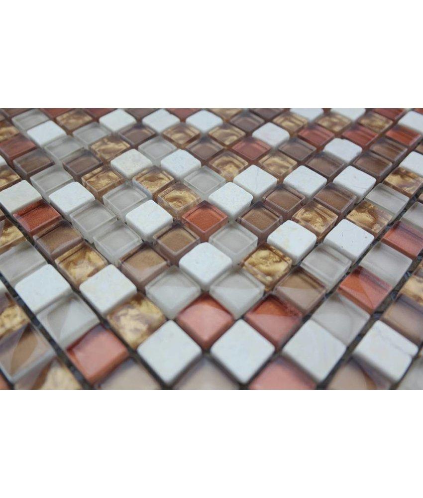 Bunte Mosaikfliesen beige, bronze mix G108