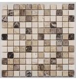 BÄRWOLF Naturstein Mosaikfliese Square CM-09009 cream beige emperador