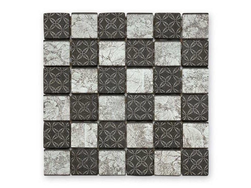 BÄRWOLF Glas-Mosaikfliese Byzantine GL-2537 silver black