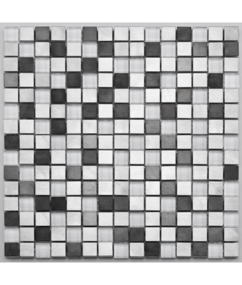 Materialmix-Mosaikfliese Pixel GL-2600 white metal mix
