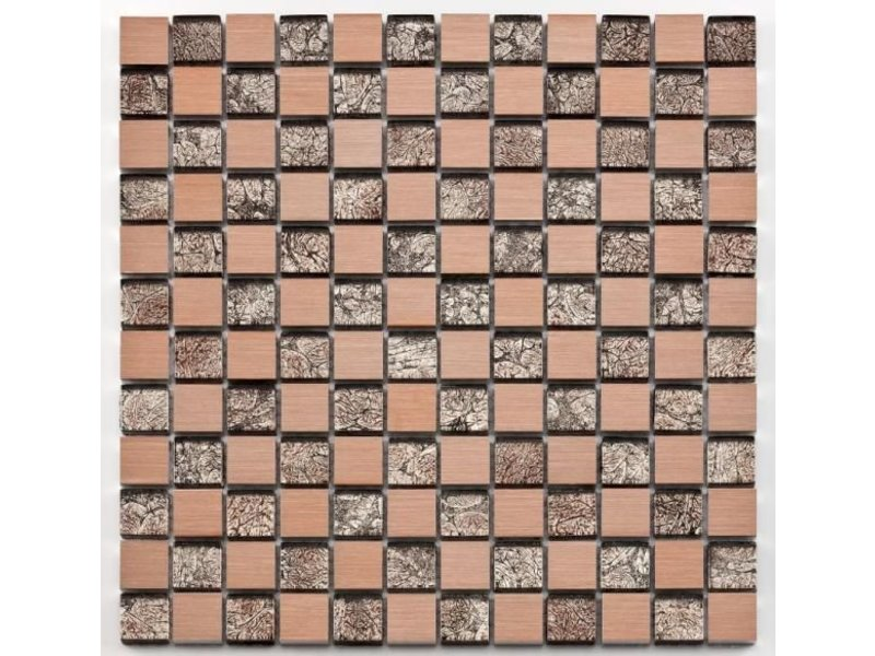 BÄRWOLF Materialmix-Mosaikfliese Oxo GL-10027 metal rose