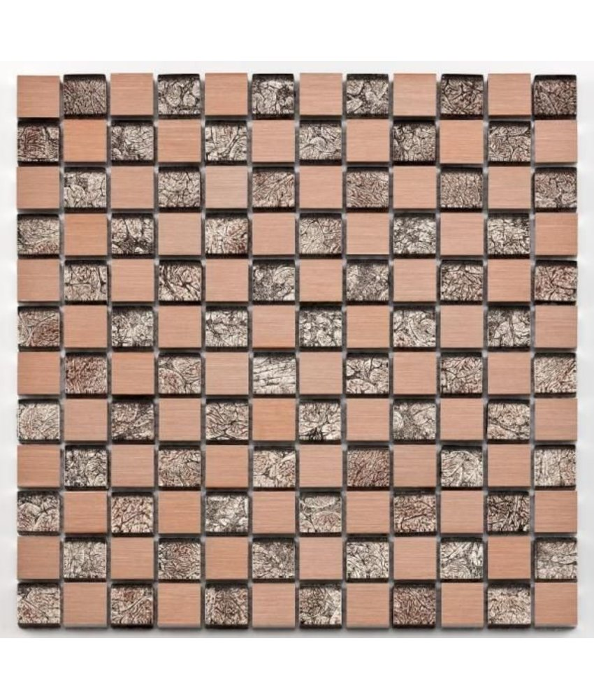 Materialmix-Mosaikfliese Oxo GL-10027 metal rose