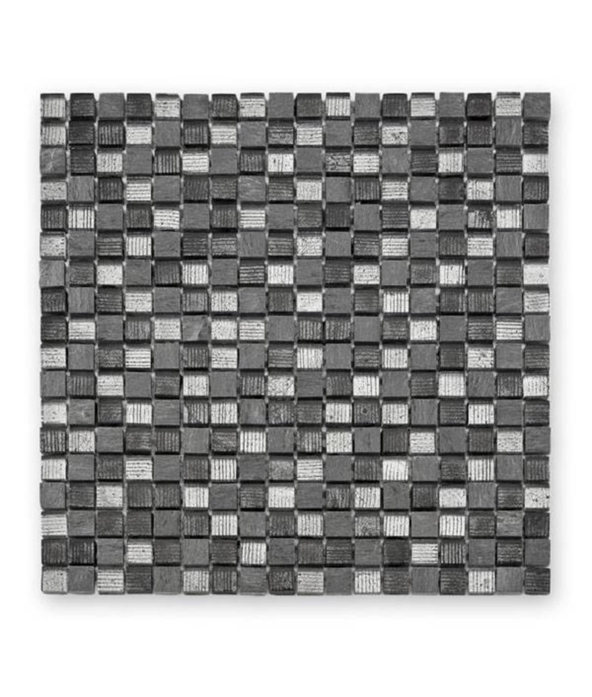 Materialmix-Mosaikfliese Fineline GL-12007 grey mix