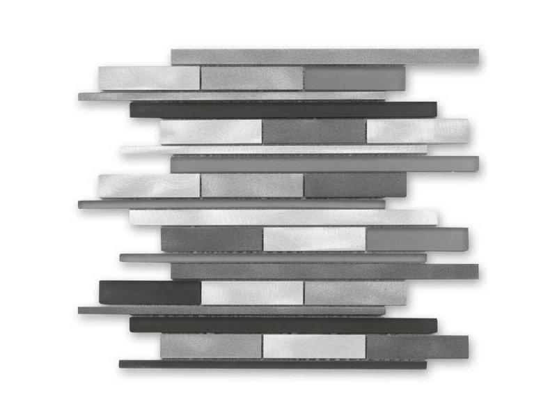 BÄRWOLF Materialmix-Mosaikfliese New York GL-14009 metal grey mix