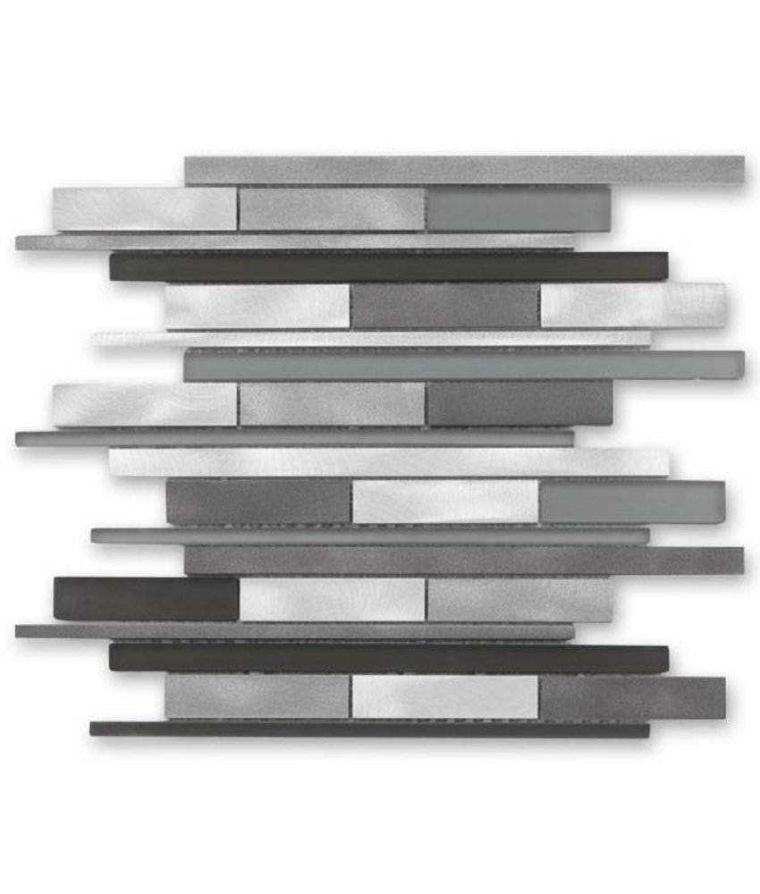 Materialmix-Mosaikfliese New York GL-14009 metal grey mix