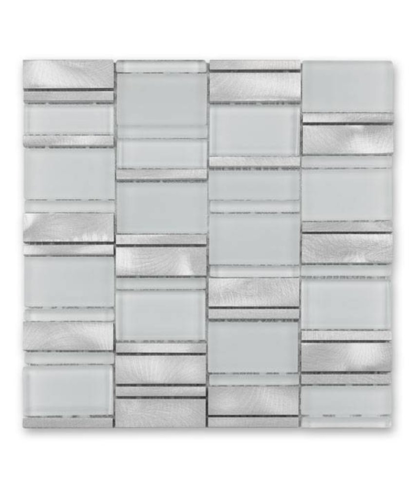Materialmix-Mosaikfliese New York GL-14013 metal white mix