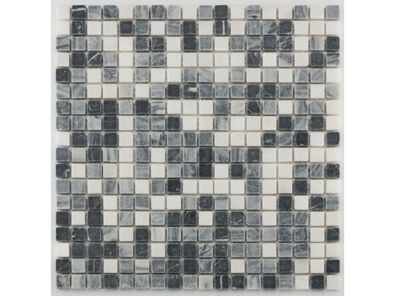 BÄRWOLF Naturstein Mosaikfliesen Orvieto AM-0004 black grey white