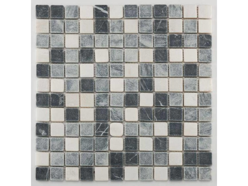 BÄRWOLF Trittsichere Naturstein Mosaikfliesen Orvieto AM-0011 black grey white
