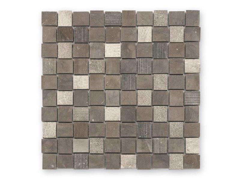 BÄRWOLF Naturstein Mosaikfliesen Djenné CM-15001 brown