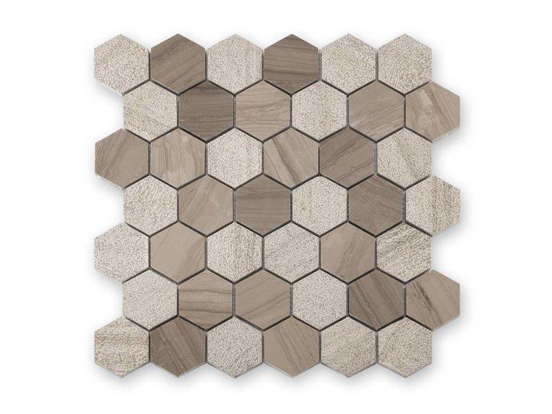 BÄRWOLF Trittsichere Naturstein Mosaikfliesen Favo CM-15030 taupe