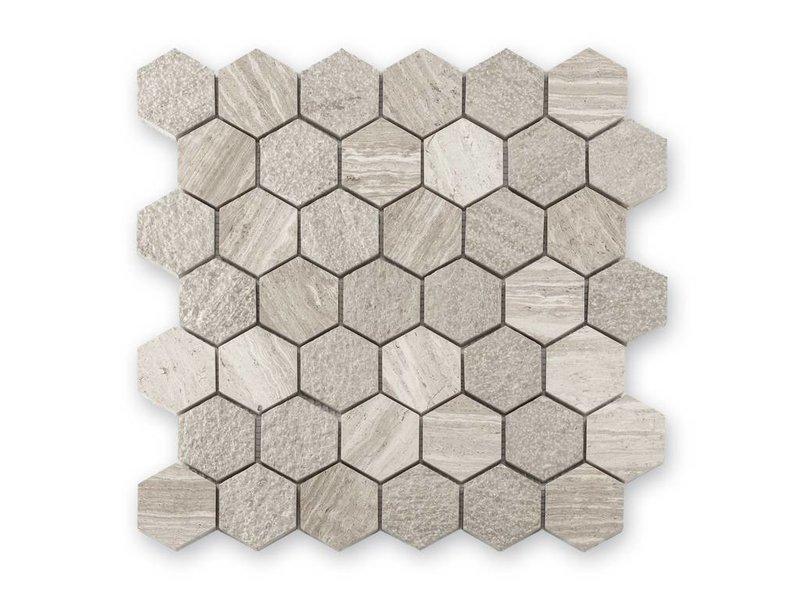 BÄRWOLF Trittsichere Naturstein Mosaikfliesen Favo CM-15031 creme