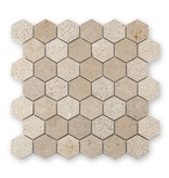 BÄRWOLF Trittsichere Naturstein Mosaikfliesen Favo CM-15032 sand