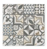 BÄRWOLF Trittsichere Keramik Mosaikfliese Patchwork KEG-14070 grey
