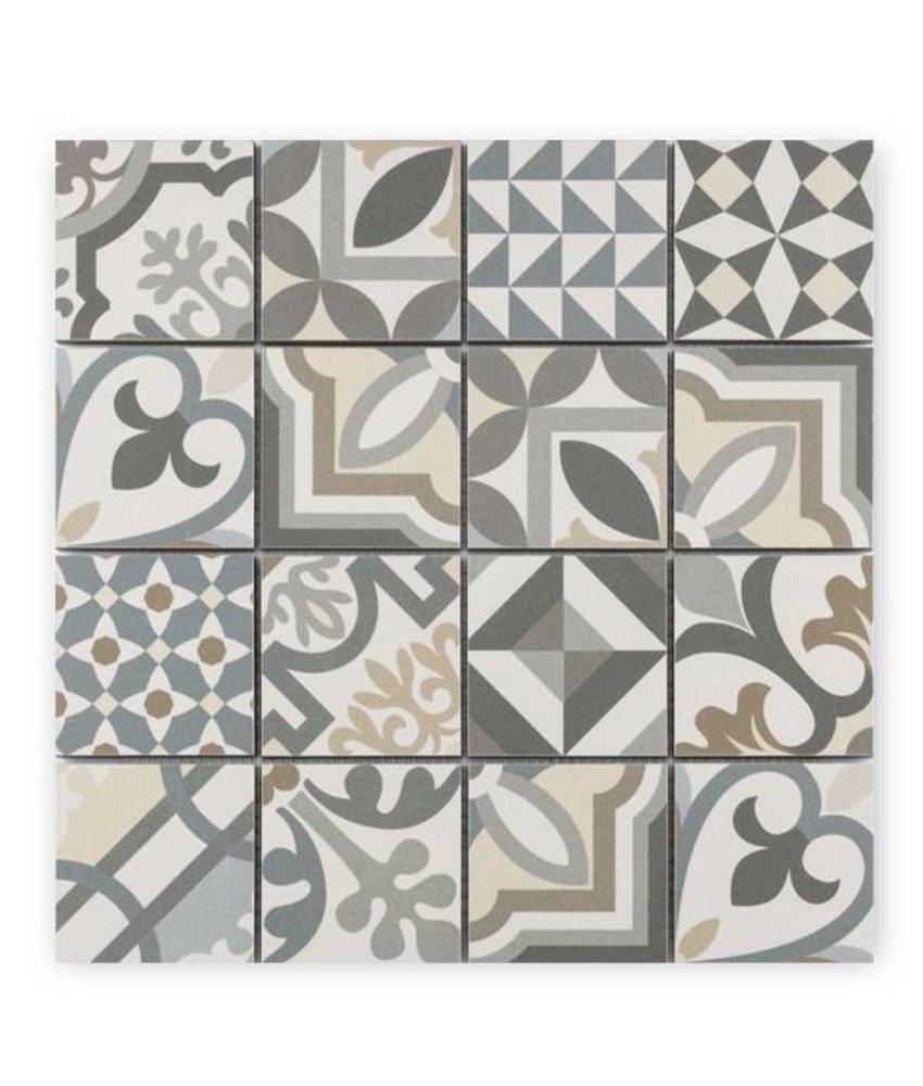 Trittsichere Keramik Mosaikfliese Patchwork KEG-14070 grey
