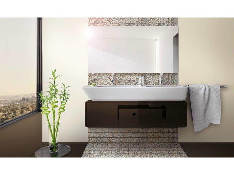 BÄRWOLF Trittsichere Keramik Mosaikfliese Patchwork KEG-14072 black & white
