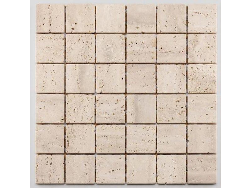 BÄRWOLF Naturstein Mosaikfliese Square CM-09010 white, beige