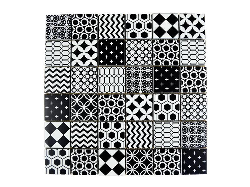Glasmosaik Fliesen Patchwork Black Schwarz Weiss