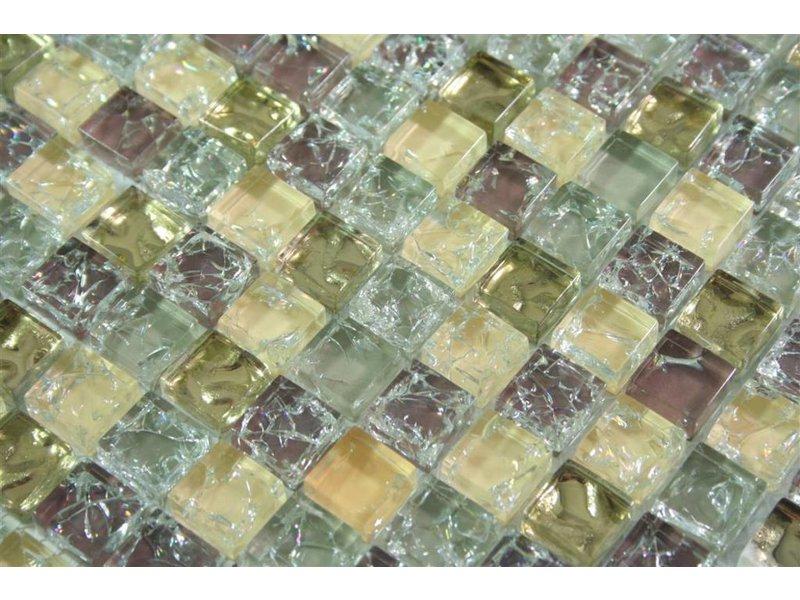 GLASMOSAIK FLIESEN - Anlona - beige / grau / gold / braun