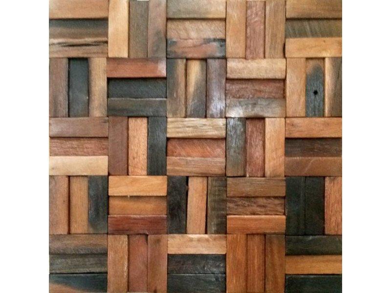 HOLZ MOSAIKFLIESEN - Bombay - Antik Holz - braun mix
