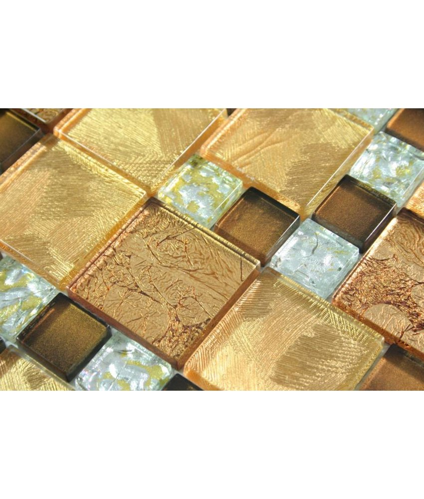 GLASMOSAIK FLIESEN - Commonwealth - gold / braun / silber