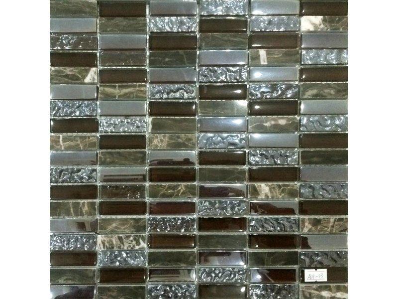 MOSAIKFLIESEN - Dublin - Glas / Stein - braun / silber