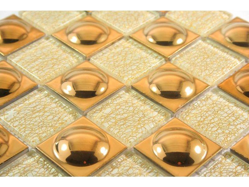 MOSAIKFLIESEN - Florence - Glas / Keramik - beige / gold