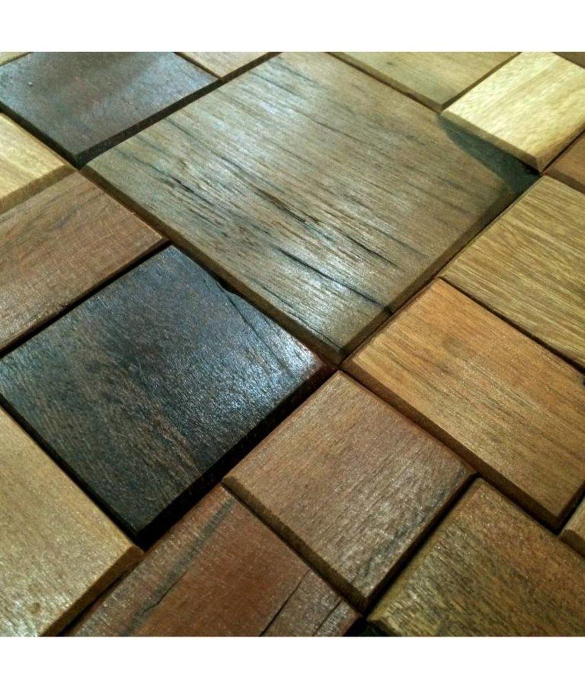 HOLZ MOSAIKFLIESEN - Kiew - Antik Holz - braun mix