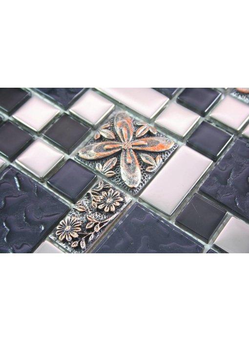 MOSAIKFLIESEN - Marrakesch - Glas / Keramik - schwarz / silber / kupfer