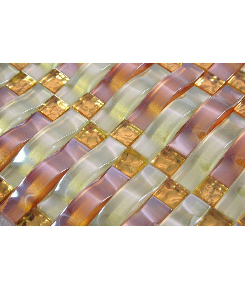 GLASMOSAIK FLIESEN - Marseille - beige / kupfer / gold