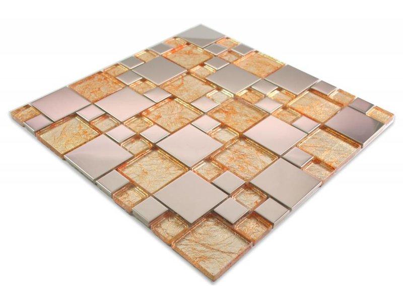 MOSAIKFLIESEN - Modena - Glas / Edelstahl - beige / gold / silber