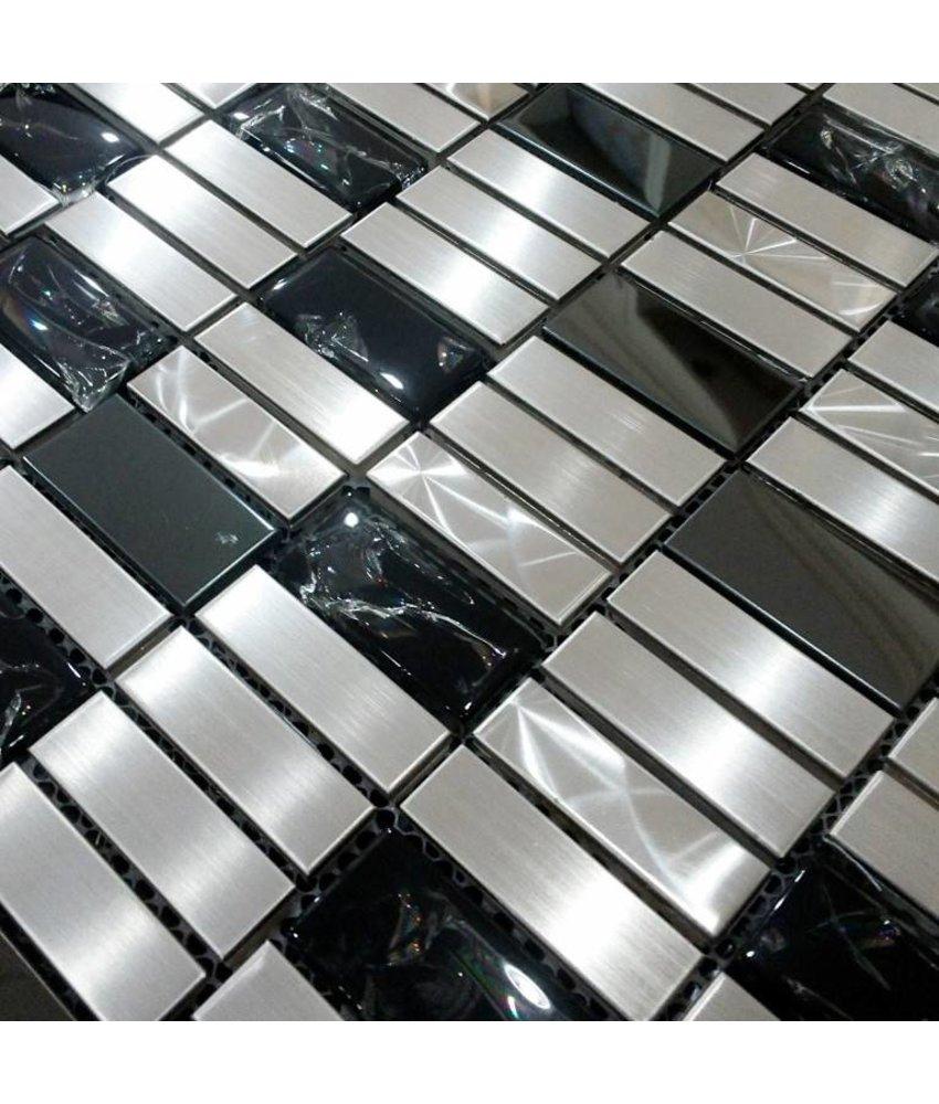 MOSAIKFLIESEN - Monte Carlo - Glas / Edelstahl- schwarz / silber