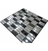MOSAIKFLIESEN - Monte Carlo - Glas / Edelstahl - schwarz / silber