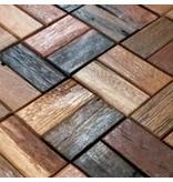 HOLZ MOSAIKFLIESEN - Napoli - Antik Holz - braun mix