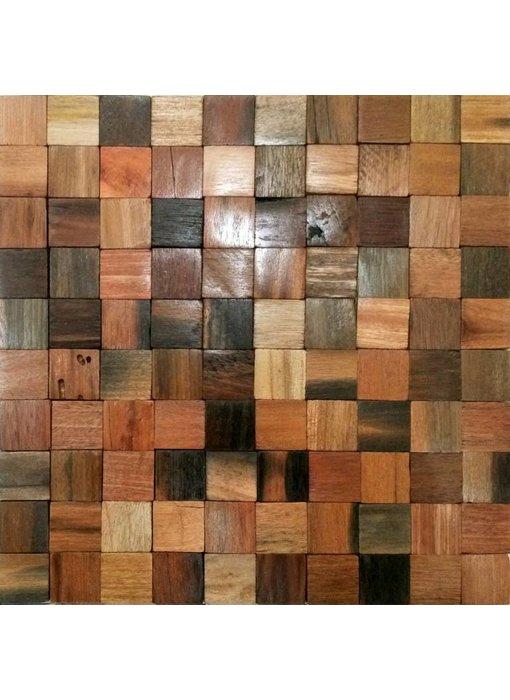 HOLZ MOSAIKFLIESEN - Oslo - Antik Holz - braun mix