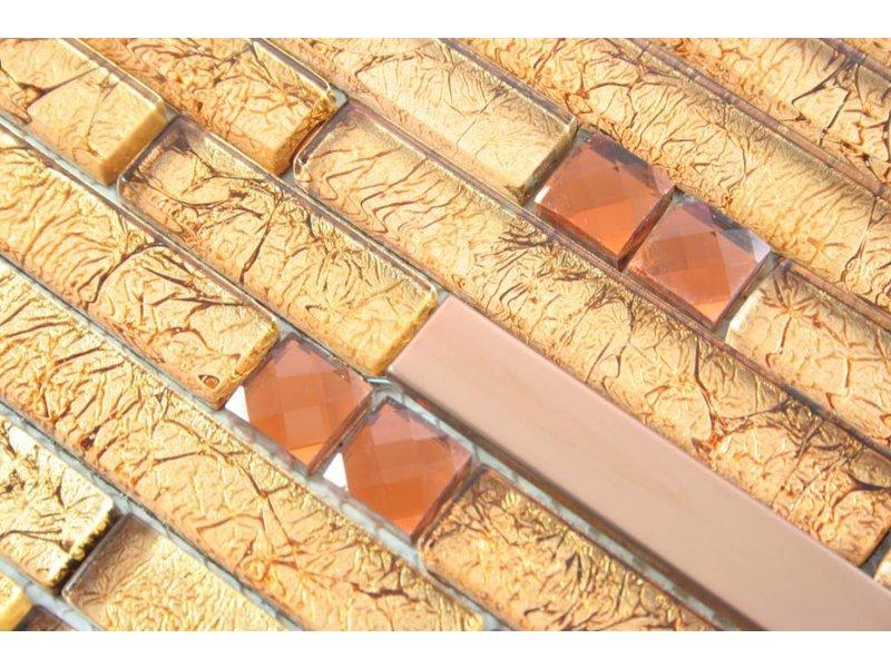 MOSAIKFLIESEN - Rio - Glas / Edelstahl - gold / braun / bronze