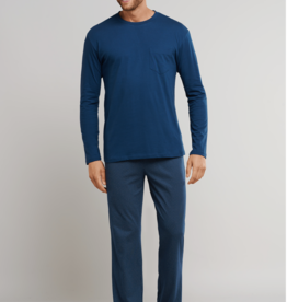 Schiesser pyjama blauw combinatie
