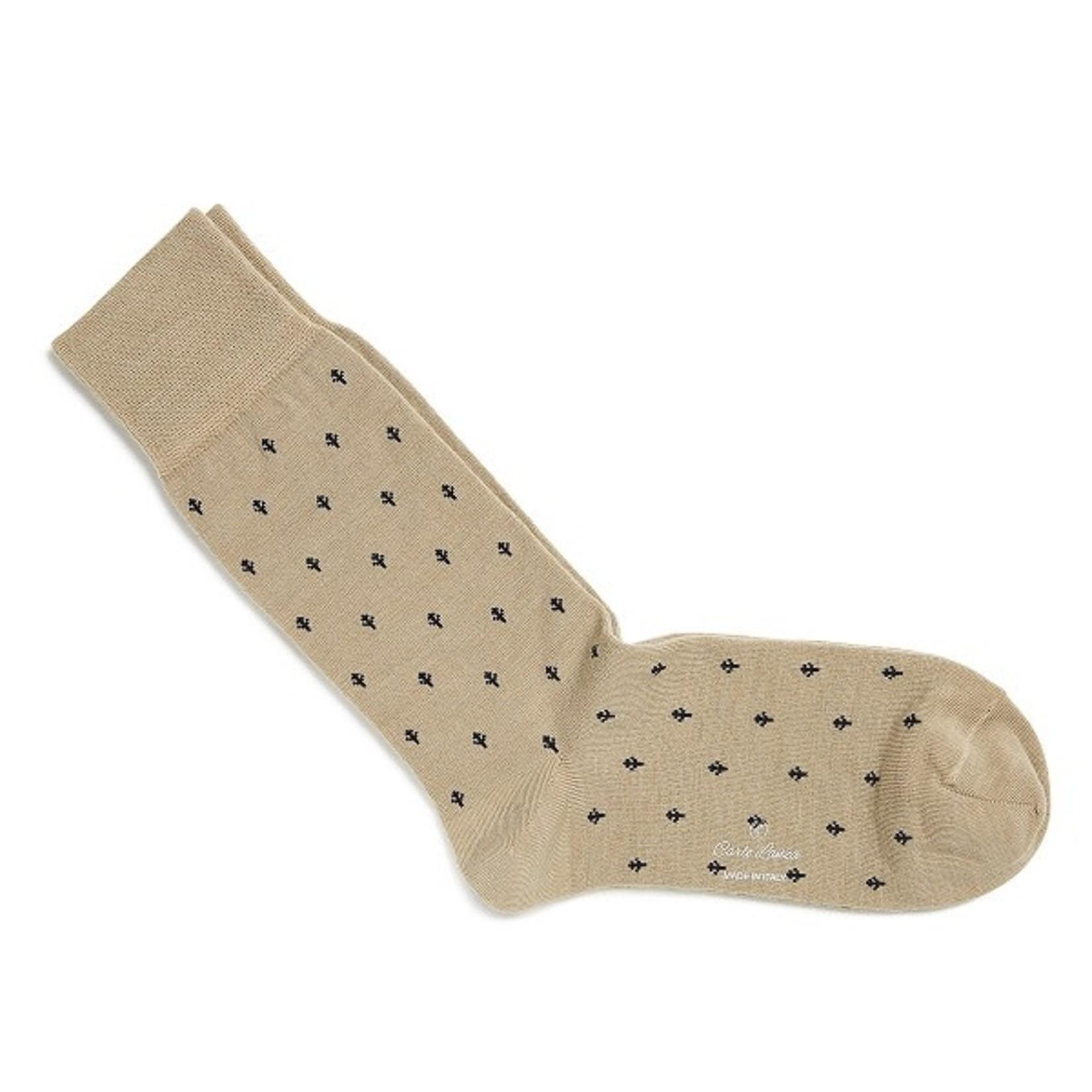 Carlo Lanza korte sokken wol beige trees