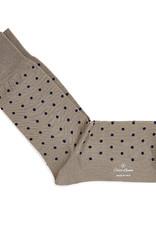 Carlo Lanza korte sokken katoen taupe stip