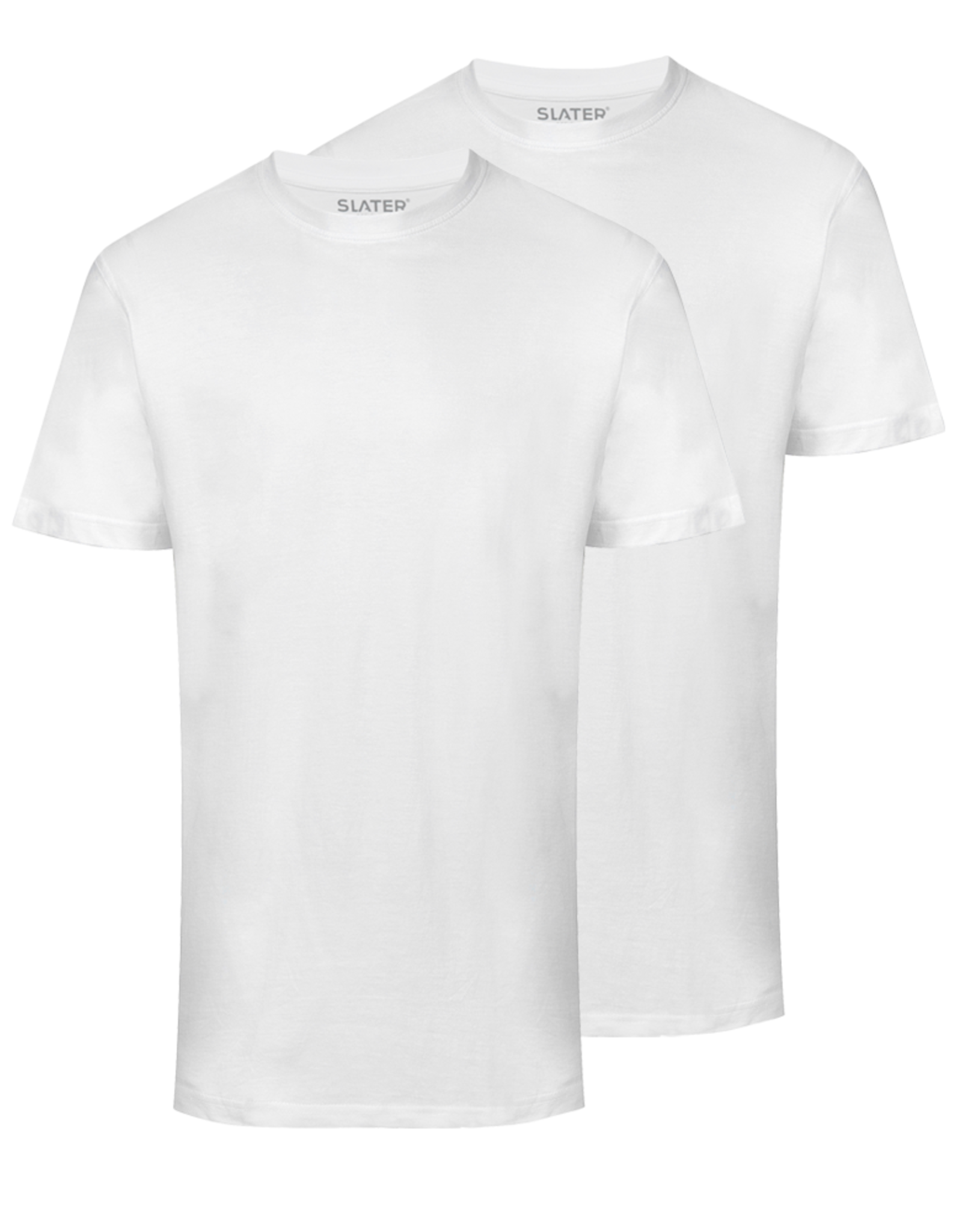 Slater Basic 2-pack ronde hals t-shirt wit